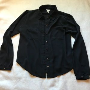 Women's Black Button Up Long Sleeve with Collar